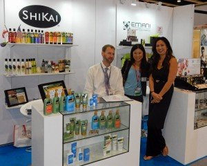 with Jason Sepp of ShiKai Products and Michelle Doan of Emani Vegan Cosmetics